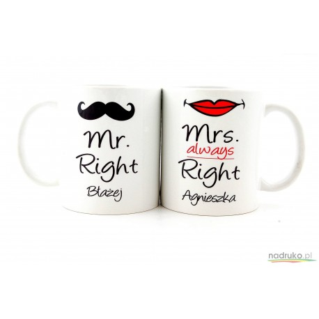 Komplet kubków  z imionami MRS ALWAYS RIGHT MR RIGHT (DOWOLNE IMIONA)