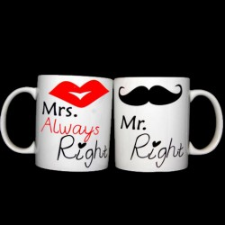 Komplet kubków MR RIGHT MRS ALWAYS RIGHT