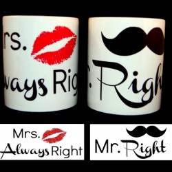 Komplet kubków  MRS ALWAYS RIGHT MR RIGHT